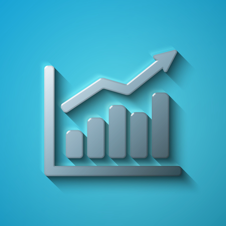 going: Business concept: flat metallic Growth Graph icon, transparent shadow on Blue background, vector illustration