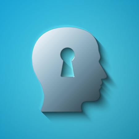 Concepto de las finanzas: cabeza metálica plana con el icono del ojo de la cerradura, sombra transparente sobre fondo azul, ilustración vectorial