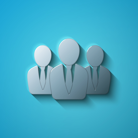 shadow people: Business concept: flat metallic Business People icon, transparent shadow on Blue background Illustration