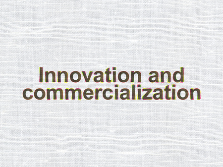 commercialization: Science concept: CMYK Innovation And Commercialization on linen fabric texture background Stock Photo
