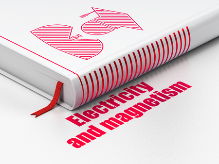 magnetism: Science concept: closed book with Red Student icon and text Electricity And Magnetism on floor, white background, 3D rendering Stock Photo