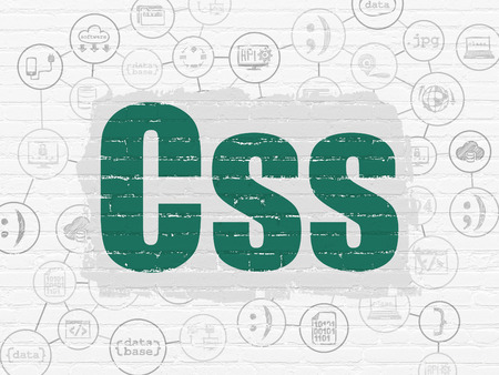 css: Software concept: Painted green text Css on White Brick wall background with Scheme Of Hand Drawn Programming Icons Stock Photo