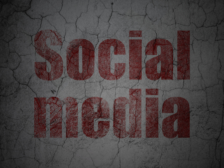 microblog: Social media concept: Red Social Media on grunge textured concrete wall background