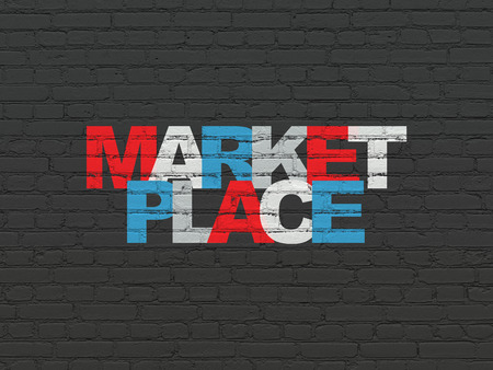 Marketing concept: Painted multicolor text Marketplace on Black Brick wall background