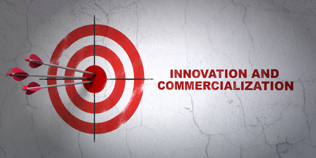 commercialization: Success Science concept: arrows hitting the center of target, Red Innovation And Commercialization on wall background, 3D rendering