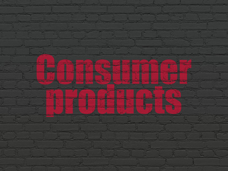 consumer products: Finance concept: Painted red text Consumer Products on Black Brick wall background Stock Photo