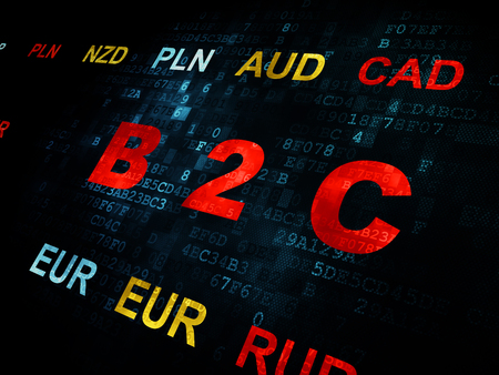 b2c: Business concept: Pixelated red text B2c on Digital wall background with Currency