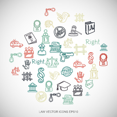 criminal act: Law Multicolor doodles flat Hand Drawn Law Icons set In A Circle on White background.