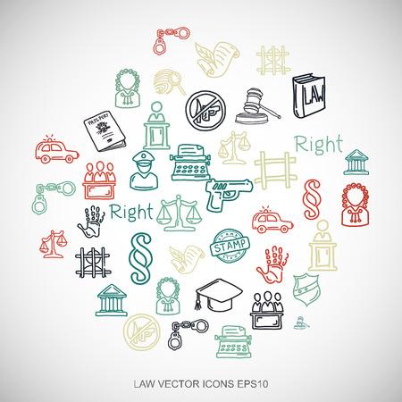 Law Multicolor doodles vlakke hand getekende wet Icons set in een cirkel op witte achtergrond.