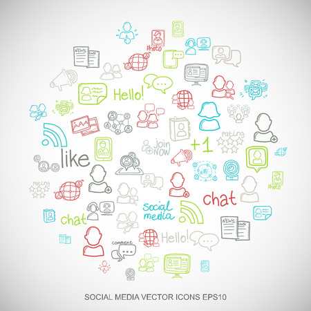 microblog: Social media Multicolor doodles flat Hand Drawn Social Network Icons set In A Circle on White background.