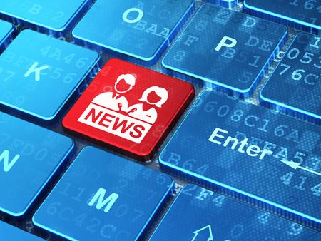 teclado: Concepto de las noticias: Teclado de ordenador con el icono del presentador de entrar en el bot�n de fondo, 3D