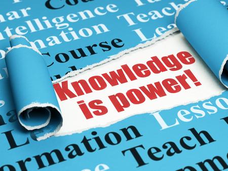 Concept d'étude: texte rouge La connaissance est le pouvoir! Sous le morceau ondulé de papier bleu déchiré avec Tag Cloud, rendu 3D Banque d'images