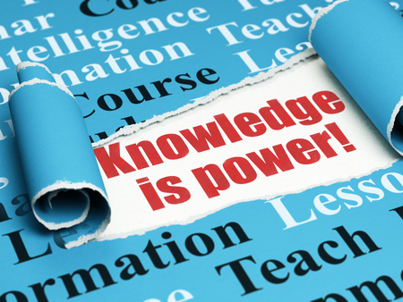 Studying concept: red text Knowledge Is power! under the curled piece of Blue torn paper with  Tag Cloud, 3D rendering