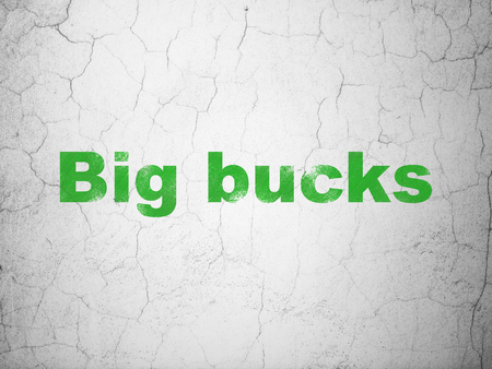 bucks: Business concept: Green Big bucks on textured concrete wall background