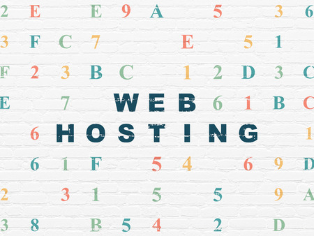 hexadecimal: Web development concept: Painted blue text Web Hosting on White Brick wall background with Hexadecimal Code Stock Photo