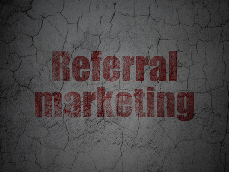 referral marketing: Advertising concept: Red Referral Marketing on grunge textured concrete wall background
