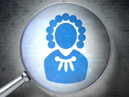 information technology law: Law concept: magnifying optical glass with Judge icon on digital background, 3D rendering