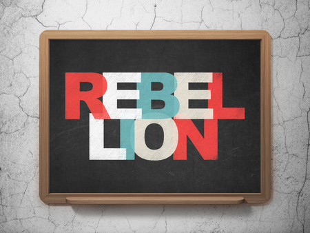 rebellion: Politics concept: Painted multicolor text Rebellion on School board background, 3D Rendering