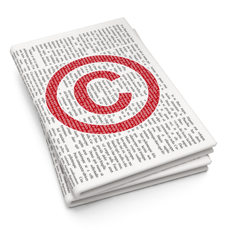 criminal act: Law concept: Pixelated red Copyright icon on Newspaper background, 3D rendering Stock Photo