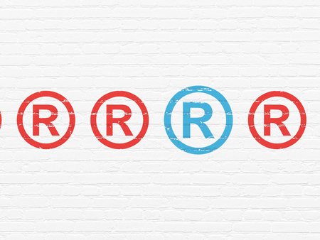 r regulation: Law concept: row of Painted red registered icons around blue registered icon on White Brick wall background