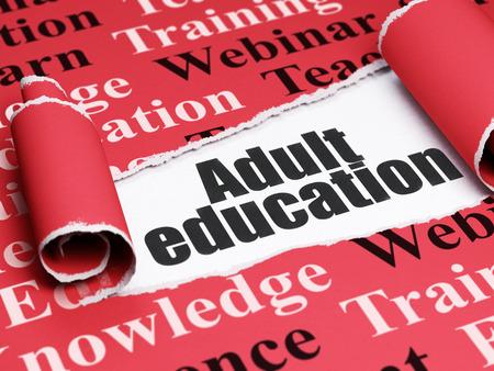 Lernkonzept: schwarzer Text Erwachsenenbildung unter dem gekräuselten Stück roten heftigen Papiers mit Tag Cloud, 3D-Rendering