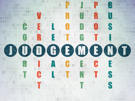 judgement: Law concept: Painted blue word Judgement in solving Crossword Puzzle on Digital Paper background