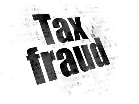 cyber defence: Law concept: Pixelated black text Tax Fraud on Digital background