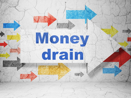 drain: Banking concept:  arrow with Money Drain on grunge textured concrete wall background, 3D rendering