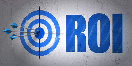 hitting a wall: Success business concept: arrows hitting the center of target, Blue ROI on wall background, 3D rendering