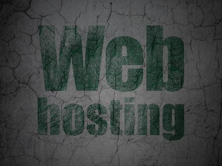 hypertext: Web development concept: Green Web Hosting on grunge textured concrete wall background Stock Photo