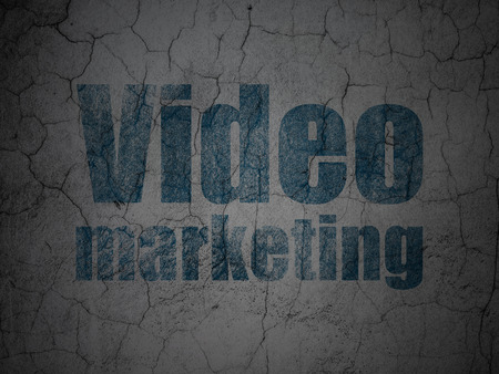 video wall: Marketing concept: Blue Video Marketing on grunge textured concrete wall background Stock Photo