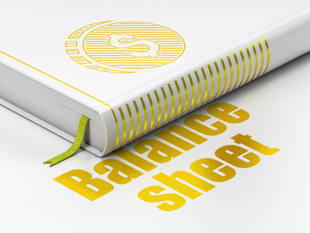 sheet: Banking concept: closed book with Gold Dollar Coin icon and text Balance Sheet on floor, white background, 3D rendering