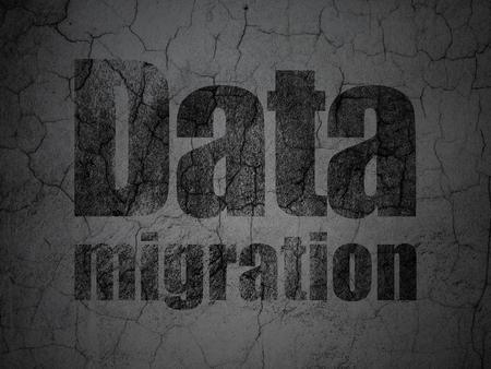 migration: Information concept: Black Data Migration on grunge textured concrete wall background