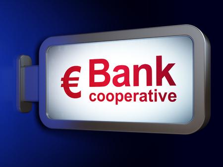 cooperativismo: Concepto de banca: Banco Cooperativo y el euro en publicidad fondo cartelera, 3D Foto de archivo