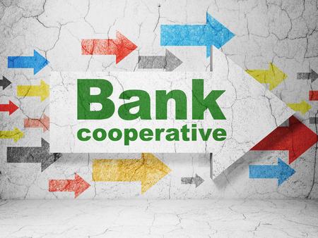 cooperativismo: Concepto de dinero: flechas con el Banco Cooperativo en grunge textura de fondo de muro de hormigón, 3D