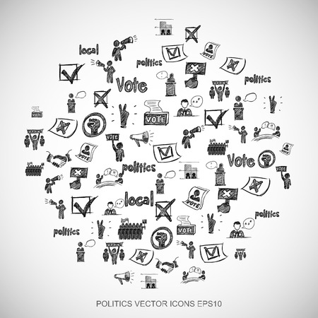 Black doodles flat Hand Drawn Politics Icons set In A Circle on White background.  vector illustration. Vettoriali