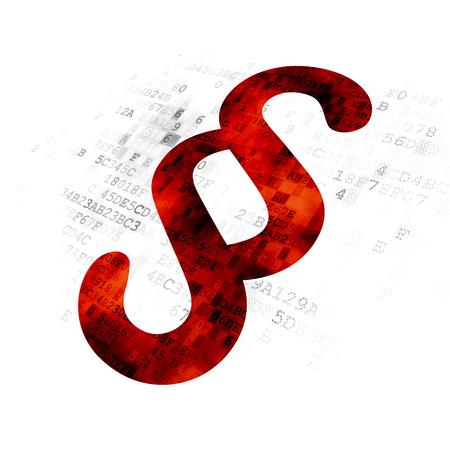 jurisprudencia: Concepto de la ley: pixelada icono Párrafo rojo sobre fondo digital