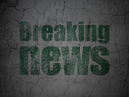 tabloid: News concept: Green Breaking News on grunge textured concrete wall background Stock Photo