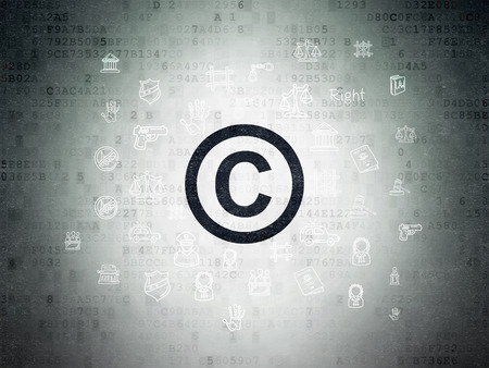 data protection act: Law concept: Painted black Copyright icon on Digital Paper background with  Hand Drawn Law Icons