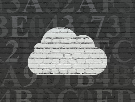 hexadecimal: Cloud technology concept: Painted white Cloud icon on Black Brick wall background with  Hexadecimal Code