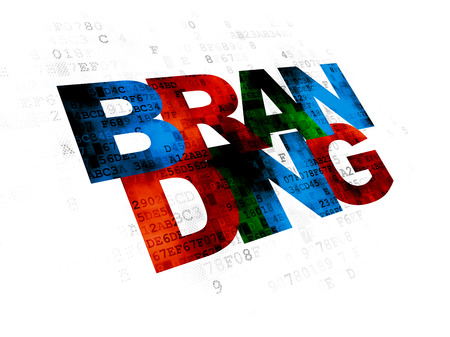pixelated: Advertising concept: Pixelated multicolor text Branding on Digital background