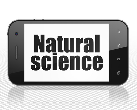 natural science: Science concept: Smartphone with black text Natural Science on display, 3D rendering