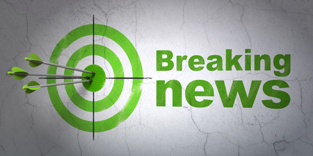 hitting a wall: Success news concept: arrows hitting the center of target, Green Breaking News on wall background, 3D rendering