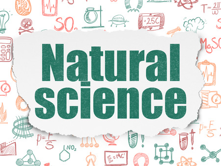natural science: Science concept: Painted green text Natural Science on Torn Paper background with  Hand Drawn Science Icons
