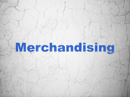 merchandising: Advertising concept: Blue Merchandising on textured concrete wall background