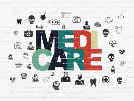 medicare: Health concept: Painted multicolor text Medicare on White Brick wall background with  Hand Drawn Medicine Icons