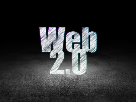 two stroke: Web development concept: Glowing text Web 2.0 in grunge dark room with Dirty Floor, black background