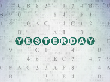 yesterday: Time concept: Painted green text Yesterday on Digital Paper background with Hexadecimal Code