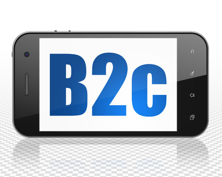b2c: Business concept: Smartphone with blue text B2c on display, 3D rendering