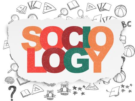 sociologia: El estudio de concepto: pintada multicolor Sociolog�a texto sobre fondo de papel rasgado con iconos de educaci�n dibujado a mano Foto de archivo